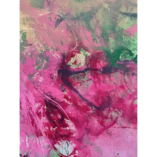 Abstract 1960s Vintage Green and Pink Abstract Painting For Sale - Image 3 of 6