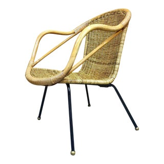 Italian Mid-Century Rattan Patio Chair, Restored