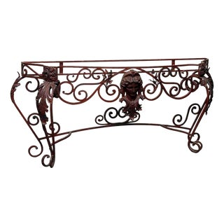 Figural Red Wrought Iron Console Table For Sale