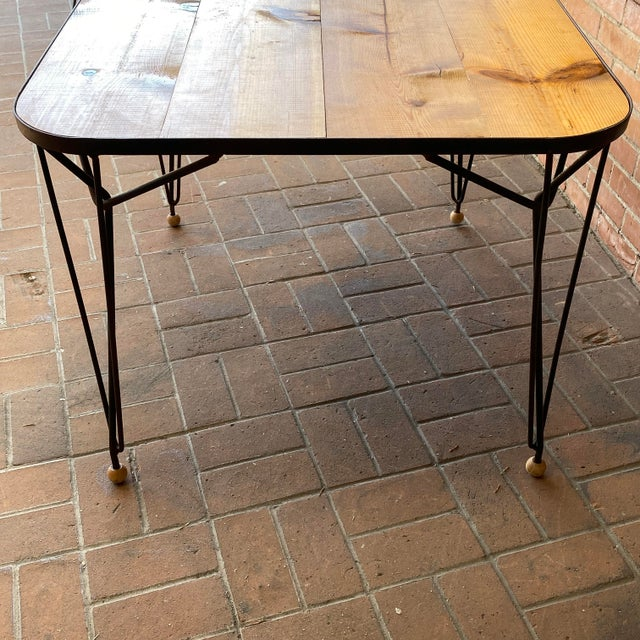 1950s Mid-Century Modern Solid Wood & Hairpin Iron Leg Table For Sale - Image 4 of 8