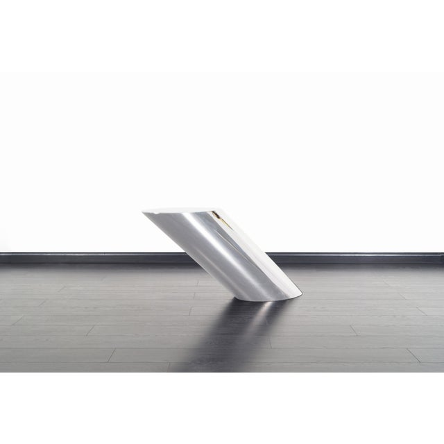 """Brueton Polished Steel """"Zephyr"""" Table by J. Wade Beam - a Pair For Sale - Image 9 of 13"""