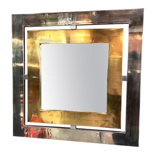 Romeo Rega Brass and Steel Square Wall Mirror, Italy, 1970s For Sale