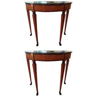 19th Century Neoclassical Style Fruitwood Console Tables - a Pair For Sale