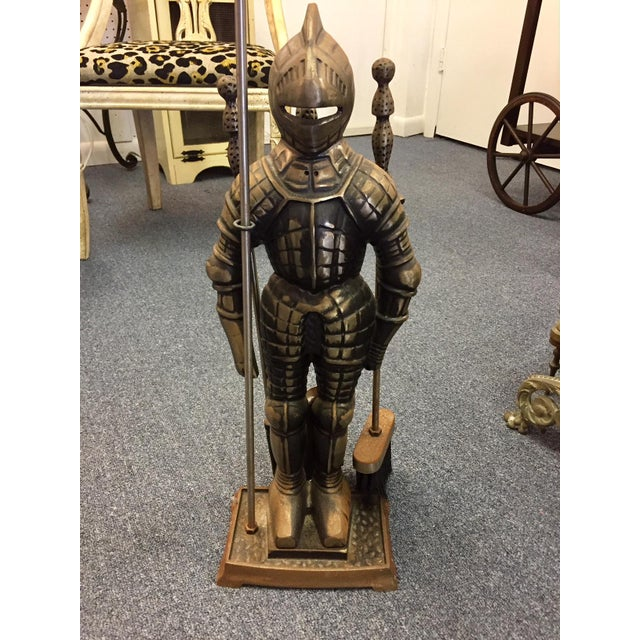 "Iron ""Sir Fireplace"" Fireplace Tool Set and Stand For Sale - Image 7 of 7"