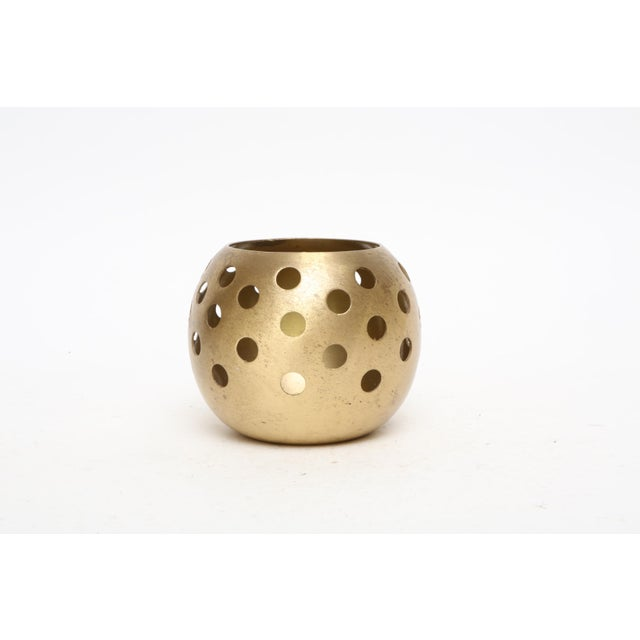 Brass Ball Candle Holder For Sale - Image 4 of 4