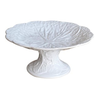 Portuguese White Cabbage Leaf Pedestal Plate For Sale