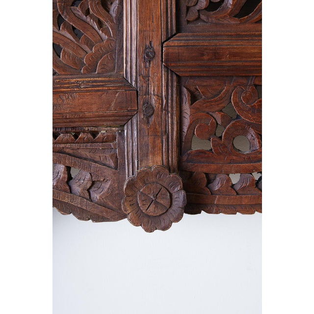 19th Century Indian Carved Wood Panel Window Surround