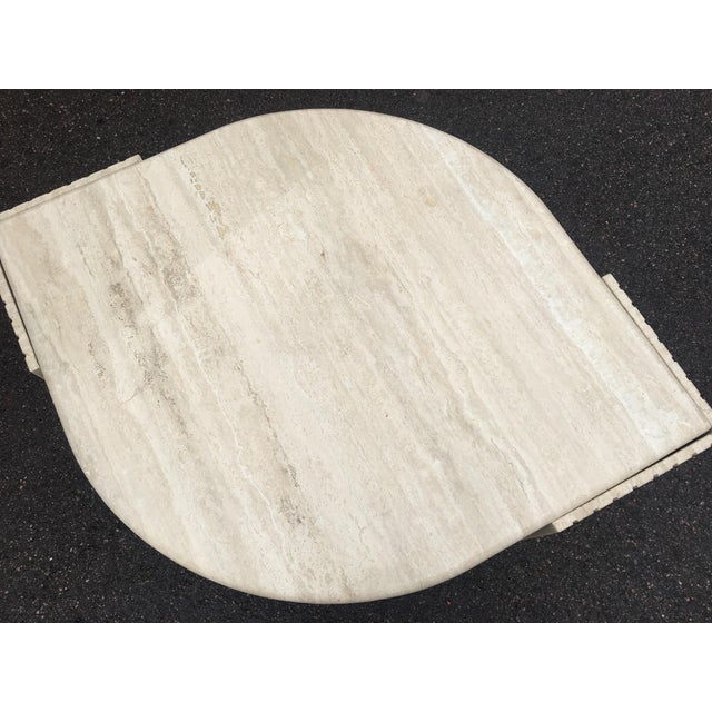 Brown 1980's Brutalist Travertine Marble Coffee Table For Sale - Image 8 of 12
