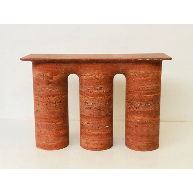 1970s Italian Red Travertine Console For Sale - Image 4 of 7
