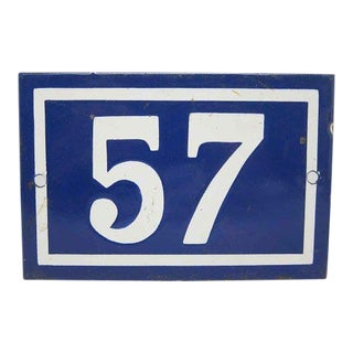 Blue & White Enamel Number 57 Sign For Sale