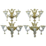 Image of Spectacular Venetian Italian Gold Infused Murano Glass Sconces For Sale