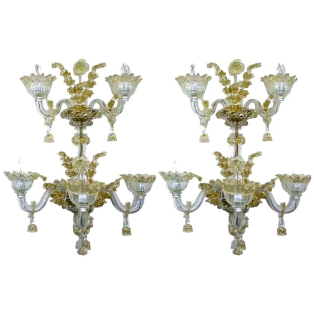 Spectacular Venetian Italian Gold Infused Murano Glass Sconces For Sale