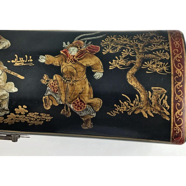 1910s Chinese Leather Money Box Pillow For Sale - Image 10 of 13