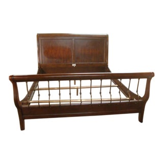 Traditional Stanley Cherry King Size Sleigh Bed For Sale