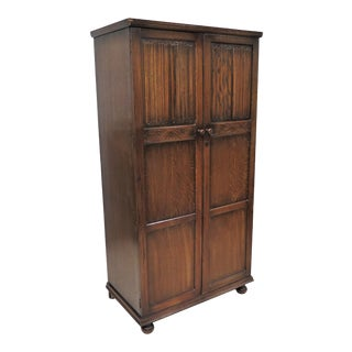 English Tiger Oak Linen Fold Wardrobe or Armoire For Sale