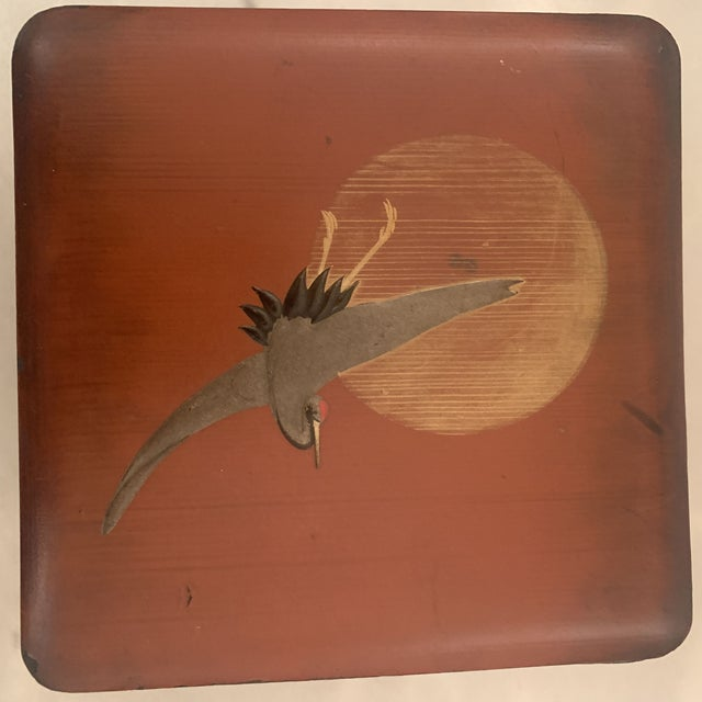 Vintage Japanese Lacquer Stacking Bento Box with Cranes, C 1940s For Sale In Denver - Image 6 of 13