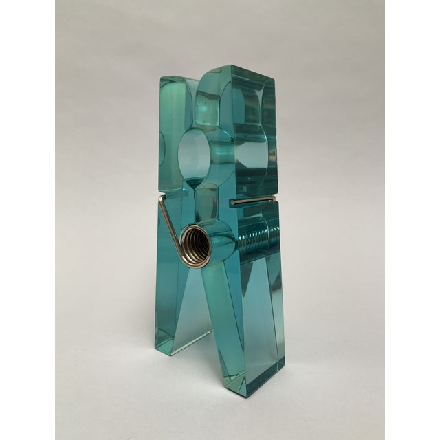 Oversized Teal Lucite Clothespin Paperweight or Paper Holder For Sale - Image 13 of 13