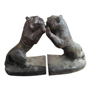 Bronze Tiger Bookends - A Pair