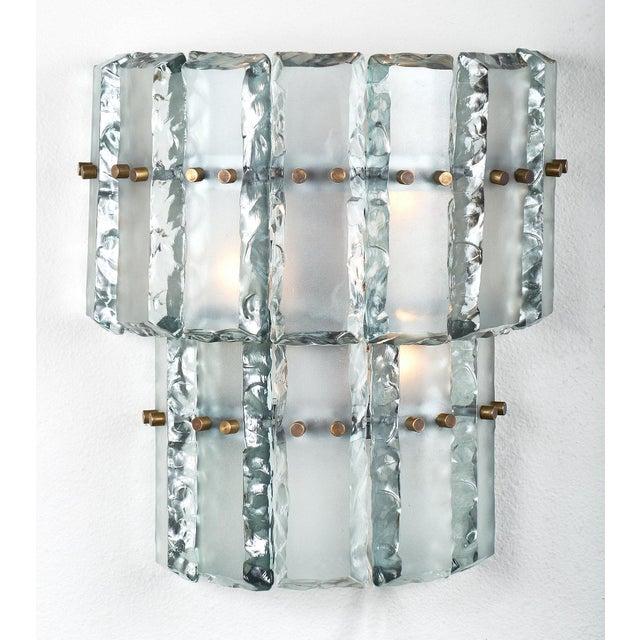 Fontana Arte Pair of Vintage Murano Glass Fontana Arte Sconces For Sale - Image 4 of 8