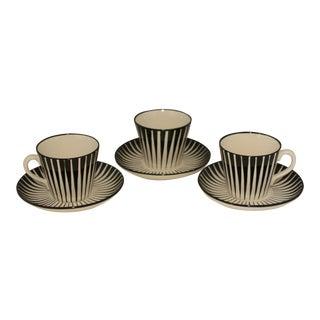 Vintage Mid-Century Modern Eugen Trost for Upsala - Ekeby Zebra Cups & Saucers - Set of 3 For Sale