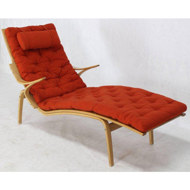 Mid Century Modern Alvar Aalto Design For Artek Bentwood Chaise Longue In Orange Wool Upholstery