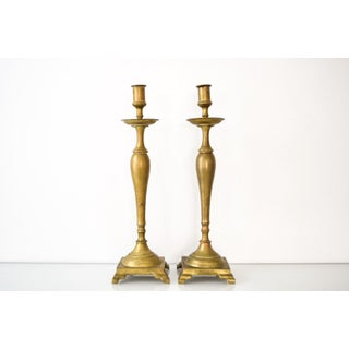 Antique English Victorian Solid Brass Candlestick Holders - A Pair Preview