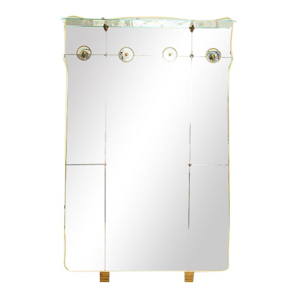 Italian Full Length Mirror with Shelf & Hooks After Fontana Arte For Sale