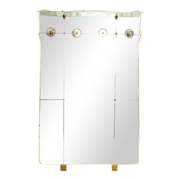 Vintage Italian Full Length Mirror with Shelf & Hooks After Fontana Arte - Image 1 of 11