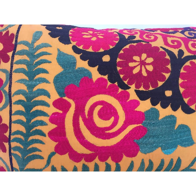 Early 20th Century Large Vintage Colorful Suzani Embroidery Throw Pillow For Sale - Image 5 of 13