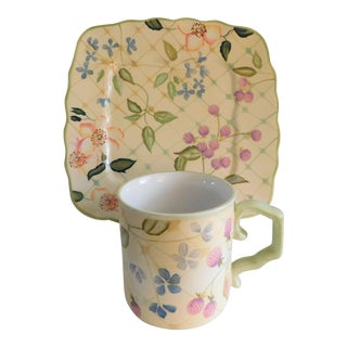 Tracy Porter Vintage Floral Plate & Mug Set For Sale