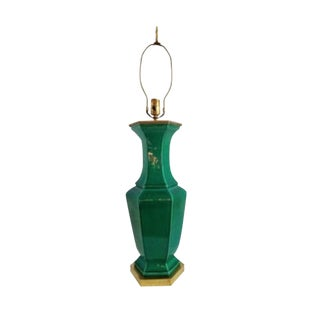 Vintage Hollywood Regency Emerald Green Table Lamp For Sale