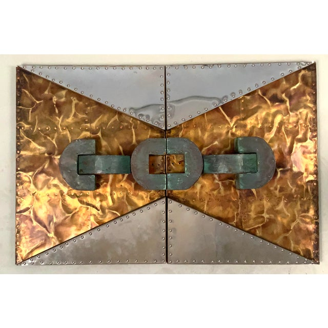1970s 'Untitled' Wall Mounted Sculpture in Copper and Brass For Sale - Image 9 of 9