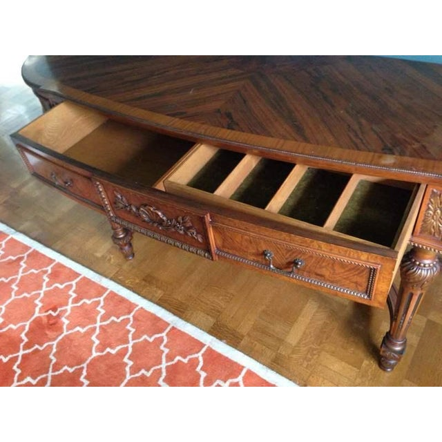 Queen Anne Style Walnut Veneered Console Table - Image 6 of 6