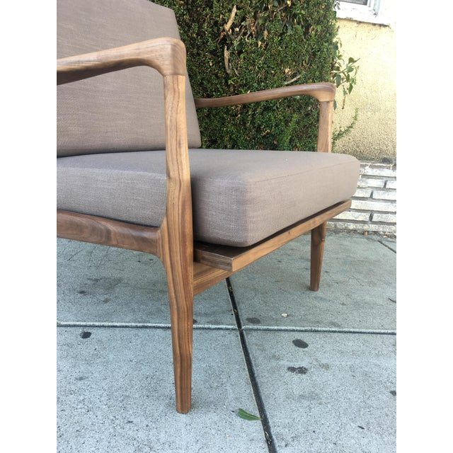 Custom Walnut Lounge Chair in Soft Taupe Gray For Sale In Los Angeles - Image 6 of 13