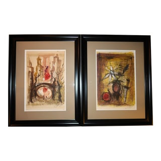 """1970 Expressionism Paintings - a Pair - 27"""" X 21"""" - Manner of Bernard Buffet For Sale"""