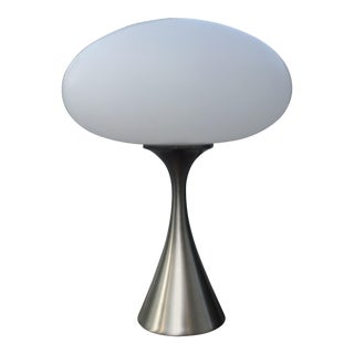 Laurel Mushroom Lamp in Satin Chrome For Sale