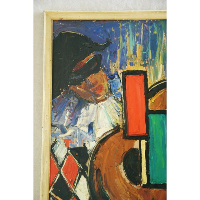 Abstract Mid-Century Harlequin & Cello Abstract Painting For Sale - Image 3 of 7