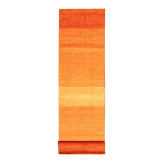 "Orange Hand-Knotted Runner Rug-2'8"" X 10'10"" For Sale"
