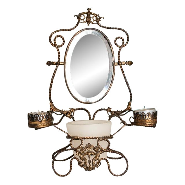 1800s Napoleon III French Shaving Mirror - Image 1 of 6