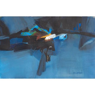 Helene Wolseth Barber Abstract in Blue 1966