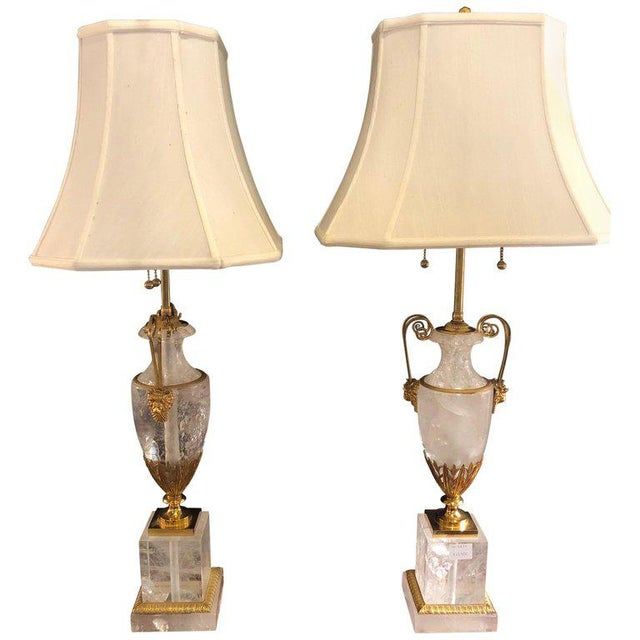 Pair of Palatial Gilt Gold and Rock Crystal Urn Form Table Lamps For Sale - Image 13 of 13