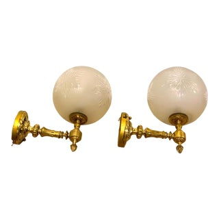 High Victorian Brass and Engraved Glass Gas Wall Sconces - a Pair For Sale