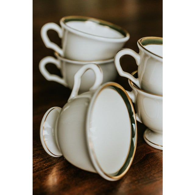 Mid-Century Modern Pickard Green and Gold Accent China Mugs - Set of 5 For Sale - Image 3 of 6