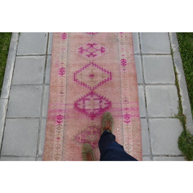 1970s Vintage Turkish Kurdish Pink Runner- 2′8″ × 12′5″ For Sale - Image 4 of 11