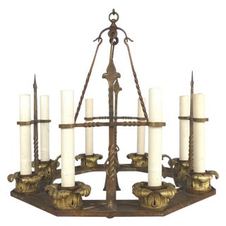 Antique Twelve-Light Forged Iron and Brass Chandelier For Sale