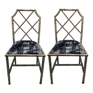 Italian Silver Painted Faux Bamboo Side Chairs - A Pair For Sale