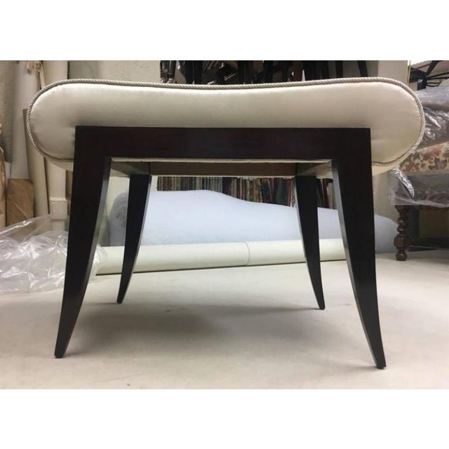 1920s Maison Dominique Rarest Refined Art Deco Bench Newly Covered in Satin Silk For Sale - Image 5 of 6