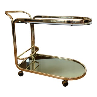 Vintage Brass Bar Cart For Sale