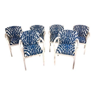Contemporary Hancock & Moore Blue and White Textile Dining Chairs - Set of 6 For Sale