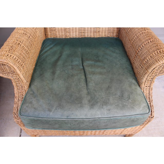 1970s Vintage Henry Link Woven Wicker Wingback Chairs- A Pair For Sale - Image 11 of 13